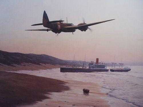 31 Bristol Blenheim I am flying over the beached Italian liner, Timavo, on the Kwazulu coast 1940    750 x 1940 mm.    Signed 85 L/L