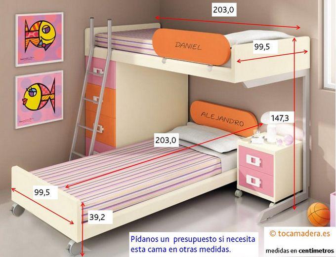 M s de 25 ideas fant sticas sobre habitaciones de gemelos for Medidas cama juvenil