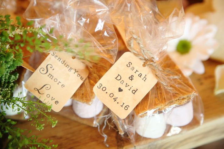smores as wedding favours at quirky essex village tipi wedding
