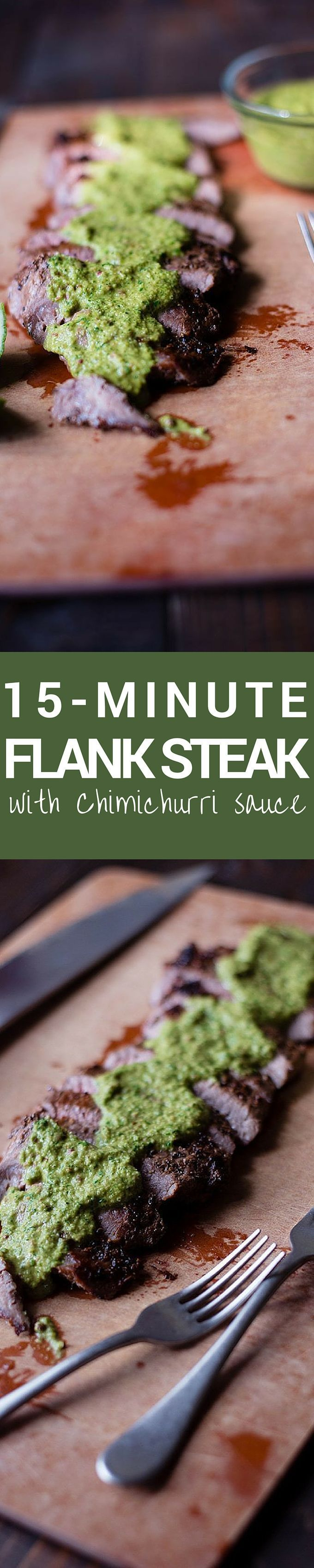 This is an easy 15 minute dish great for weeknight dinners. This easy Flank Steak With Chimichurri Sauce that is healthy, fast, and super tasty!