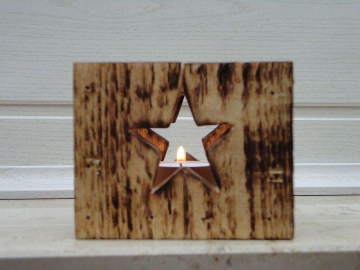 Laterne Holz Handwerk massiv Windlicht Stern Gebrannt Geflammt Echt Sepp 002