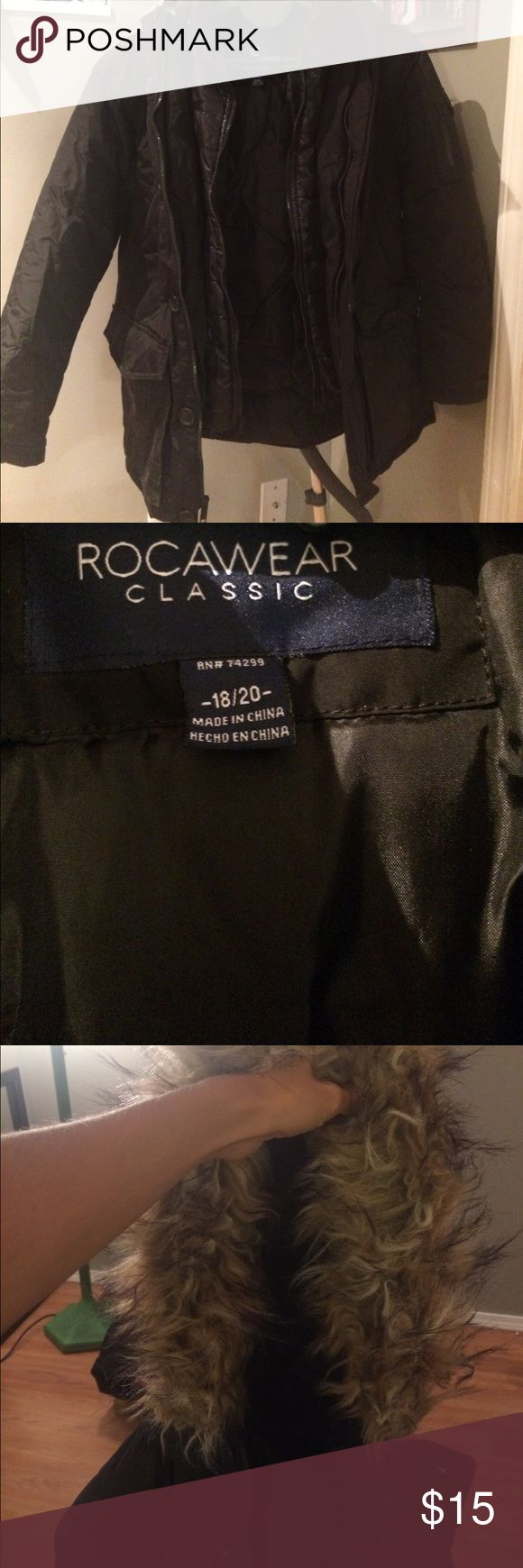 Winter coat for sale! Only worn once Long Winter coat with several pockets and hoodie. Jackets & Coats Puffers