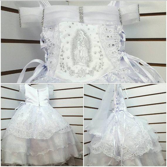Vestido para Bautizo con Virgen Maria Bordada by SherryKids