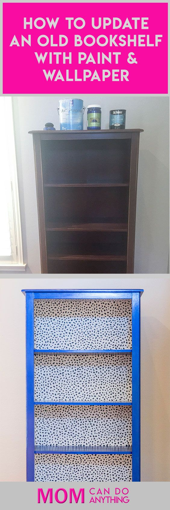 Wow! What a transformation.  One tired old bookshelf gets a new fabulously modern update with metallic paint and peel & stick wallpaper.