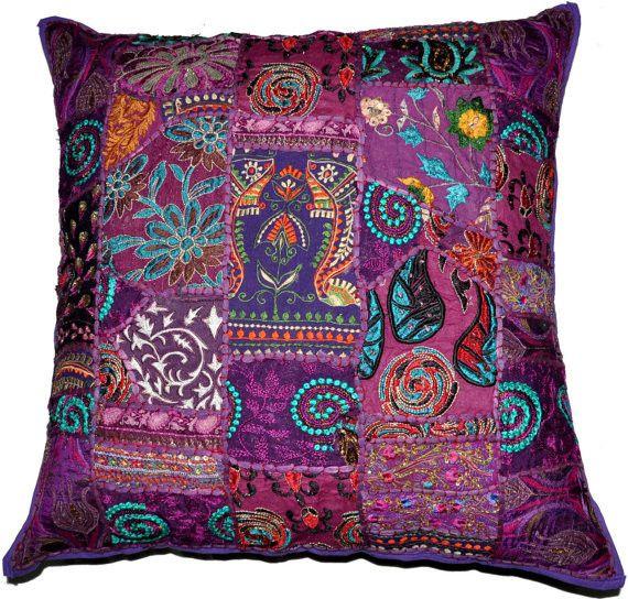 On Sale 24x24 Indian Patchwork Pillow Cover, Purple Bohemian Pillow, Indian Cushion Cover, Throw Pillow Floor Pillow Ethnic Pillow Decor