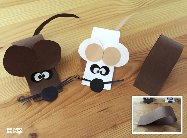 Mouse from paper, craft for kids.
