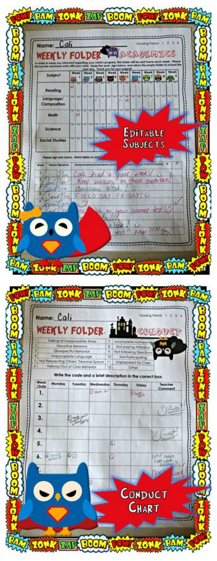 SUPER OWLS! So cute!  Weekly Communication Folder Forms for your class! Use as a conduct chart and then send it home for parents to see.