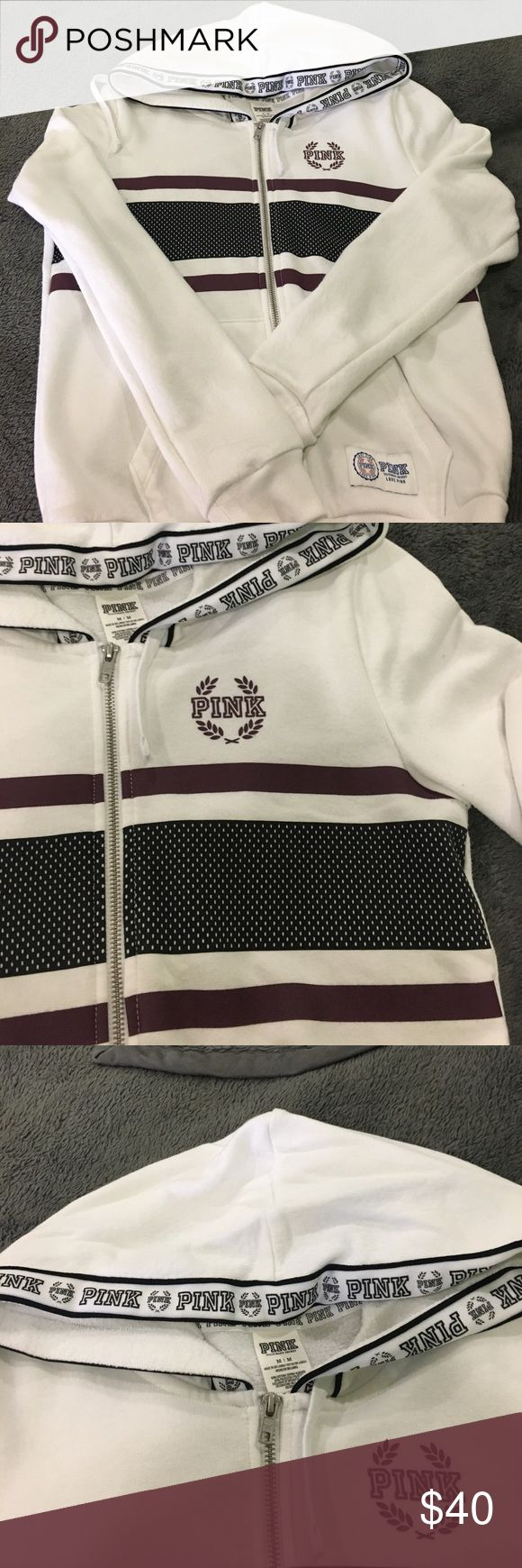 Zip-up Hoodie PINK VS Medium VS PINK White zip up hoodie. Stripes are navy blue and maroon color. Medium size. PINK Victoria's Secret Sweaters Crew & Scoop Necks