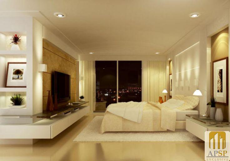 destaque: estante de gesso com nichos,com projeto de iluminação   (canto esquerdo da foto)