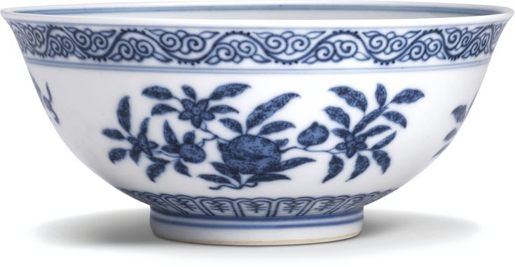 A blue and white 'sanduo' and 'dragon' bowl, Mark and period of Guangxu
