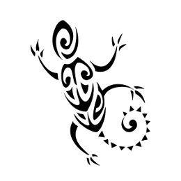 Small gecko Polynesian tattoo
