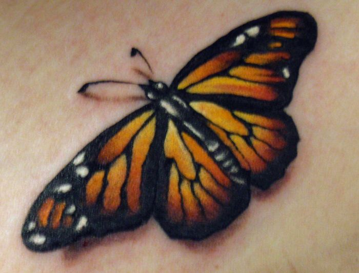 Monarch Butterfly Tattoo by Kelly Doty (it looks like this butterfly is sitting on the skin)