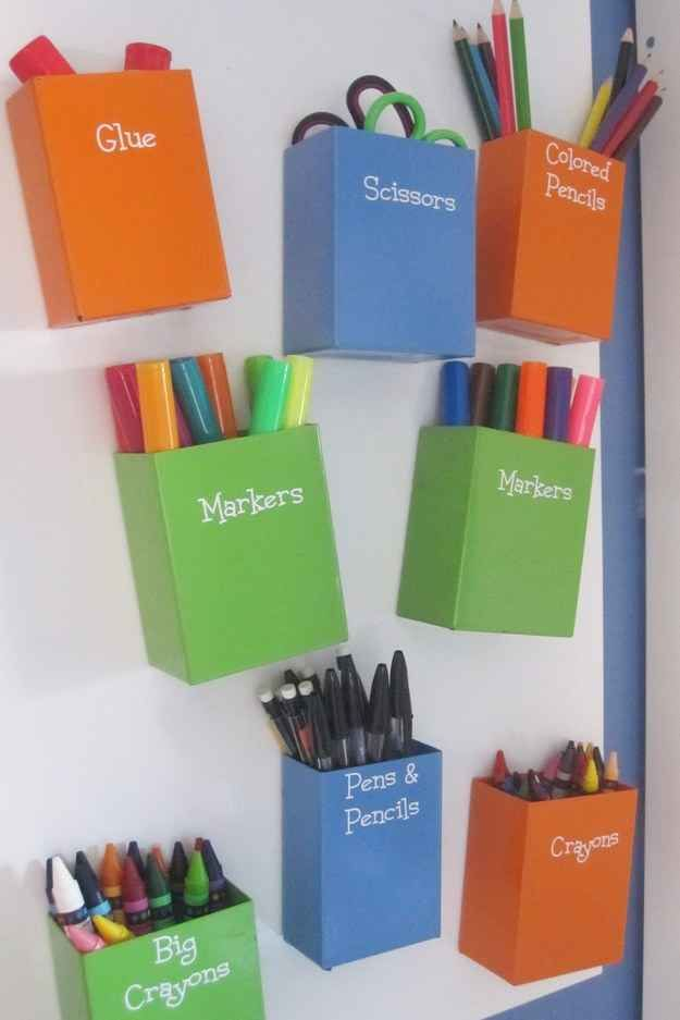 Make a magnetic art center using metal containers, magnets, and a metal board.