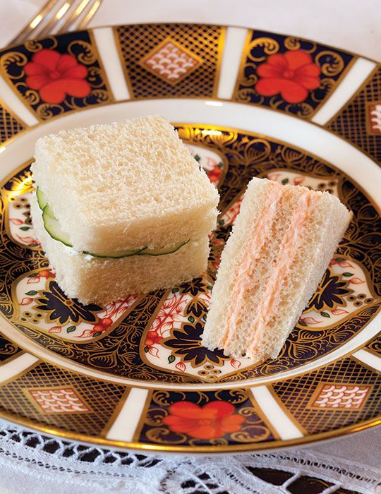 These Salmon Mousse Tea Sandwiches give a nod to Downton Abbey's third season, where disgraced maid Ethel makes luncheon for the countess .