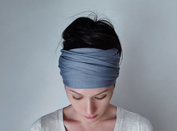 SLATE BLUE hoofd sjaal Extra brede Jersey haar Wrap door EcoShag