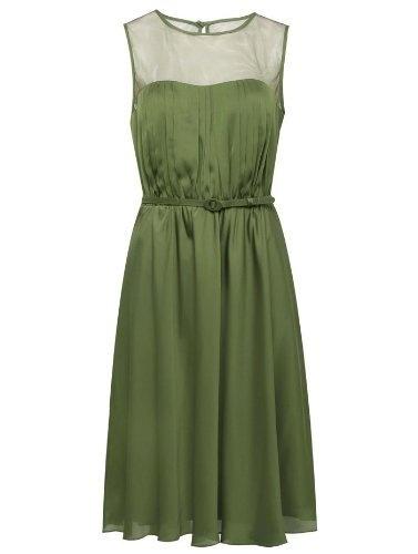 Sheer neck soft green dress Moss Green