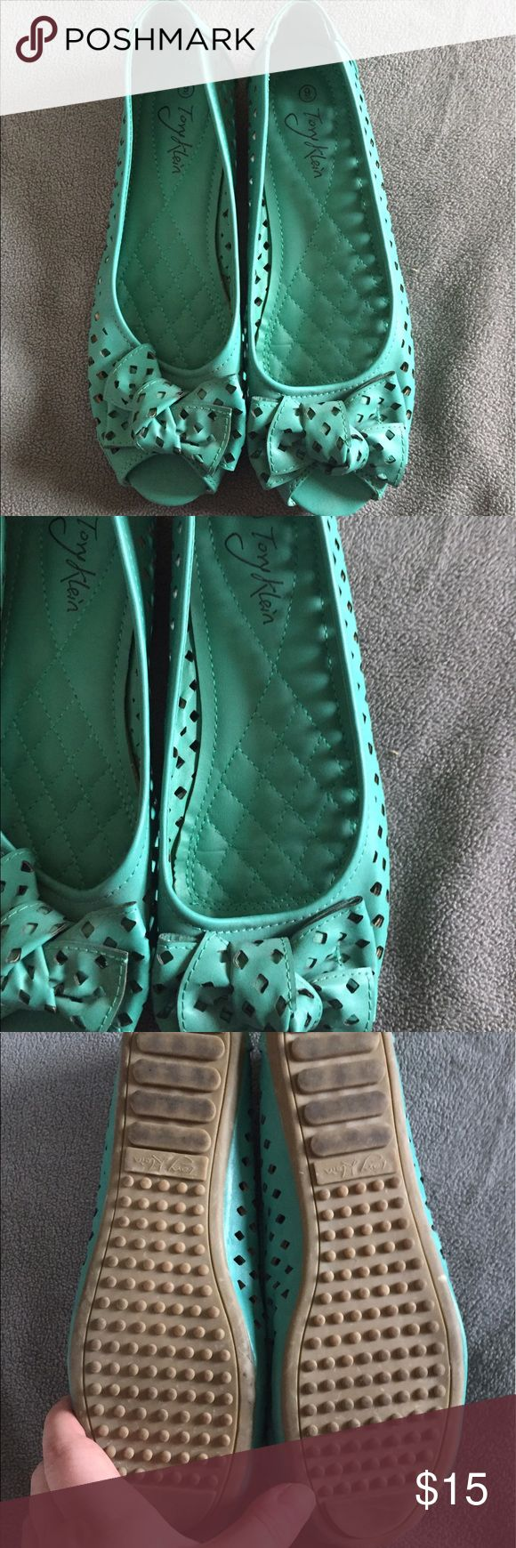 Tory Klein turquoise peep toe flats - size 9 Tory Klein turquoise peep toe flats - size 9. Super cute and comfy shoe - only worn a few times. Cut outs on shoe and bow at the top of shoe. Shoes Flats & Loafers