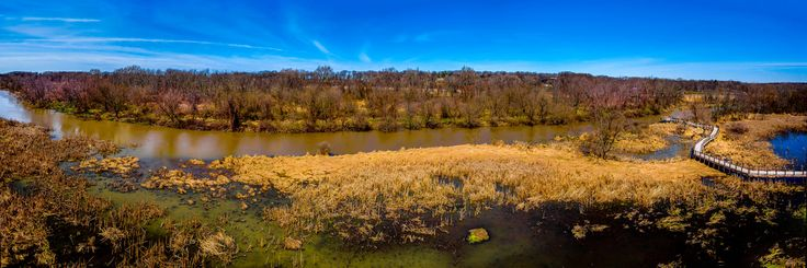 Geoff Eccles posted a photo:  Panorama across the protected wetlands of the Galien River Country Park, New Buffalo, Michigan - taken from the high boardwalk viewpoint.