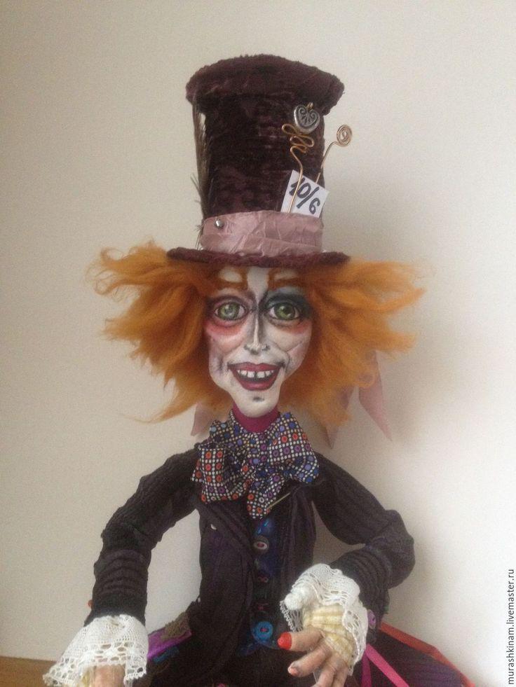 Купить Безумный Шляпник. Интерьерная текстильная кукла. - коричневый, авторская кукла, кукла ручной работы