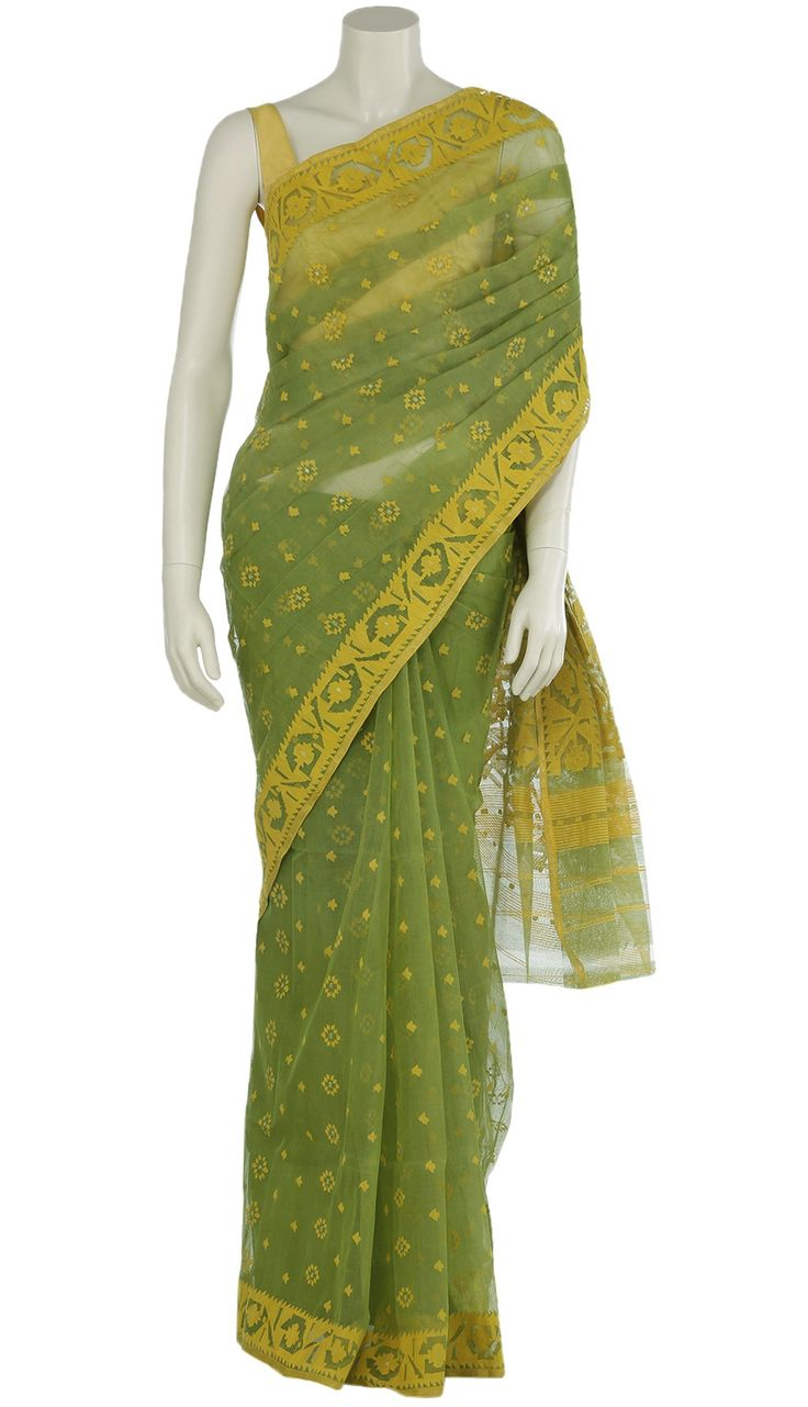 Light Green Half Silk Jamdani Saree