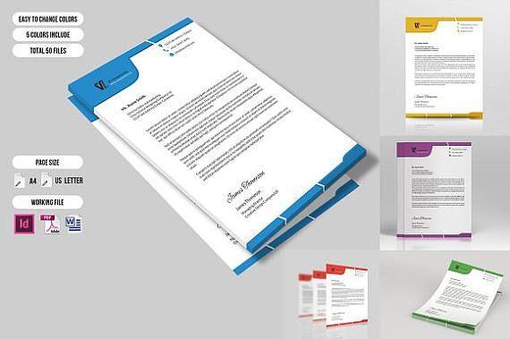Letterhead Template  Business Letterhead  Printable InDesign