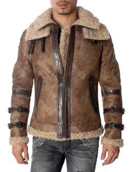 Lion Crest Design Brown Faux Leather Double Collar Jacket