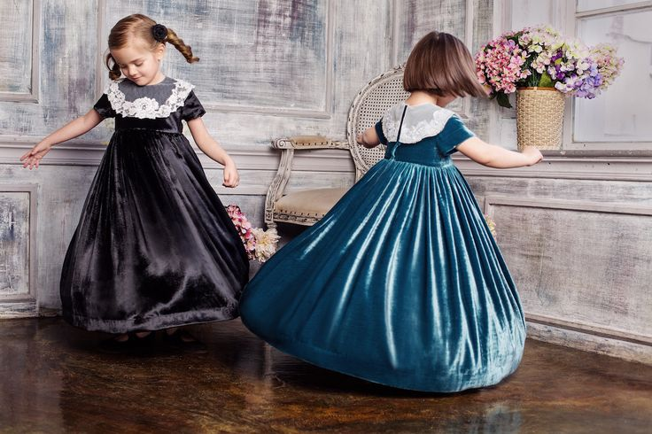 #Deep-water #blue silk #velvet #dresses #embroidered #lace #collars