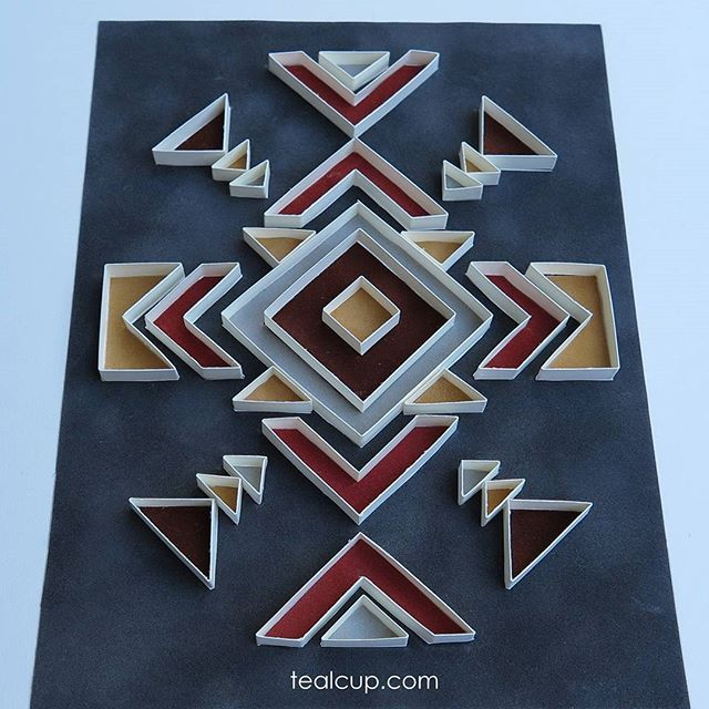 "Tribe 3, 11""x14"" (6""x8"" actual area), (1/4)"" strips cut from cardstock with papercut velvet paper backing, set of 3. #tealcup #quilling#paperquilling#quilled #quilledpaperart #quillingart #paper #paperart #papercraft #paperdecor #paperartist #handmade #ooak"