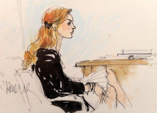 This is a courtroom sketch of Lindsay Lohan. These sketches are made due to the fact that you cant have photographers in the courtroom.