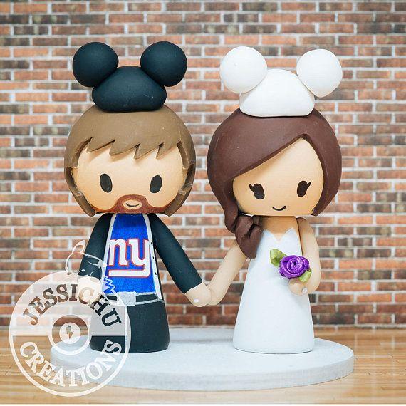 NY Giants & Bride Disney Fanatics Wedding Cake Topper - Harry Potter, Star Wars, Disney, Game, Mickey Ears, Minnie, Football, soccer