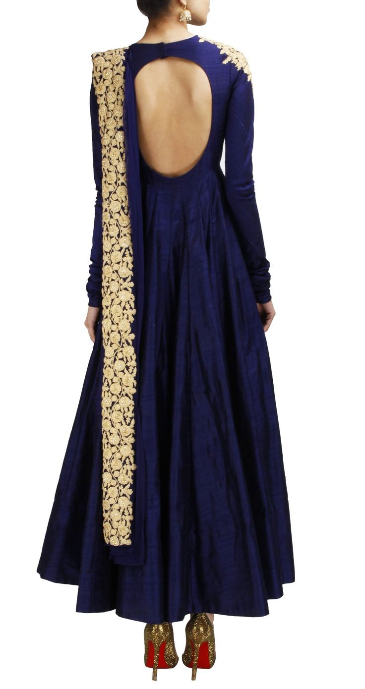 Navy blue raw silk anarkali with gold embroidery on draped dupatta, waist and shoulder. Deep back of around 14 inches.