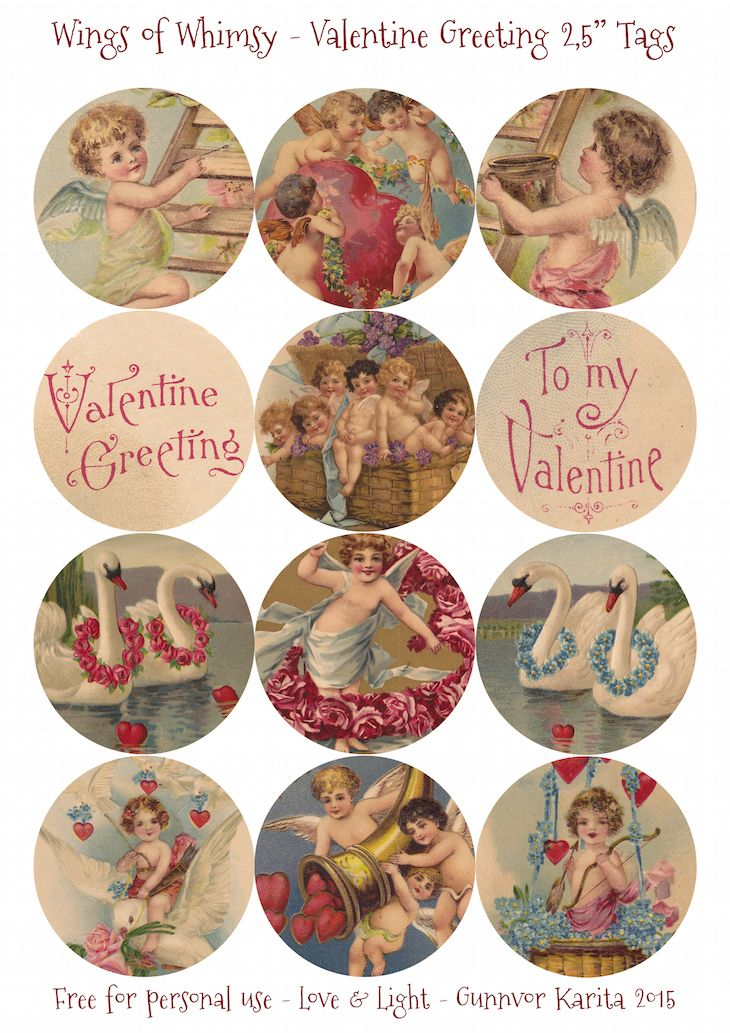"Wings of Whimsy: Vintage Valentine Greeting 2.5"" round tags"