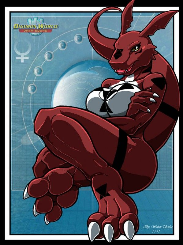 E621 Anthro Breasts Claws Digimon Fangs Female Guilmon Hindpaw Paws