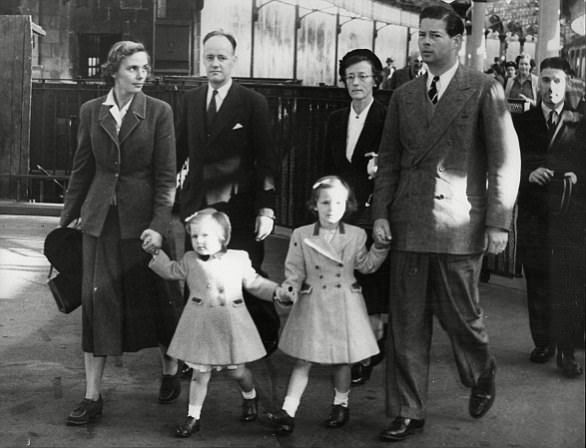 Ex-King Michael I of Romania, with wife Anne and daughters, Princess Margareta and Princess Elena, at Aberdeen Station