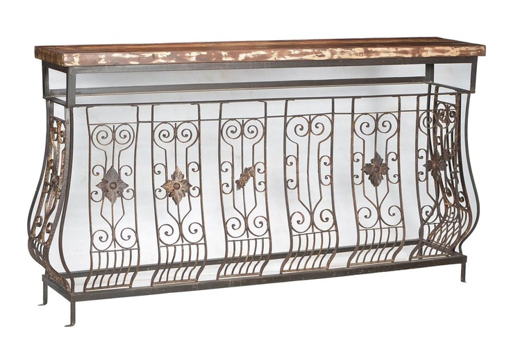 Grand Industrial Console with Teak Wood Top