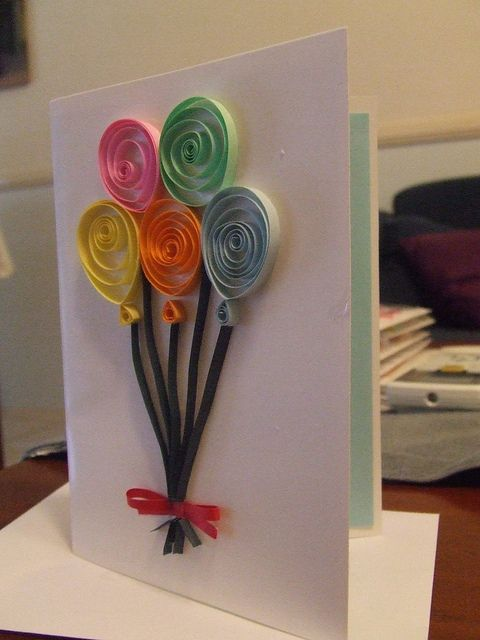 Birthday Quilled Card - gotta try this - simple but effective