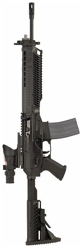 SIG SG 556 assault rifle  I would have open diamond sights...