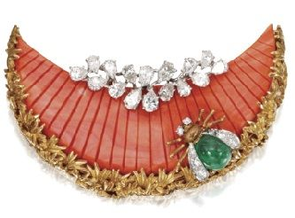 Emerald, Diamond, and Coral Brooch by David Webb