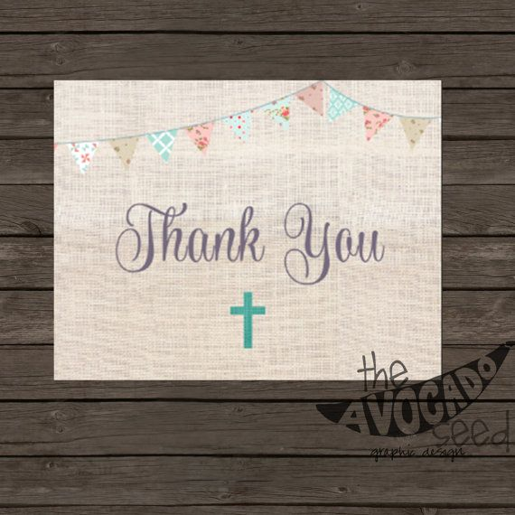 Burlap Baptism Christening Thank you Card - Instant Download or Professional Prints (convo me)