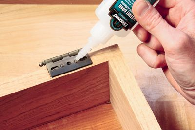 How to Use Cyanoacrylate Glue for Temporary Box Hinge Leaf Alignment  #hinge #howto #cabinet