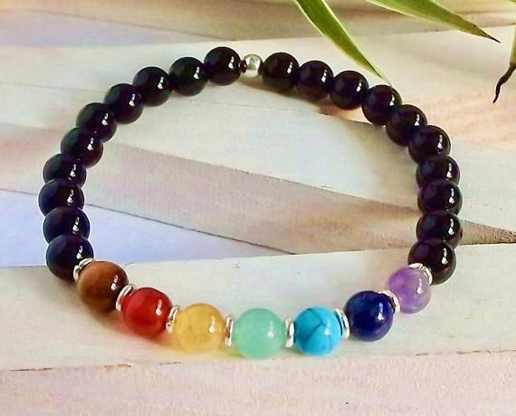 Black Onyx and 7 Chakra Stone Bead Elastic Bracelet Men