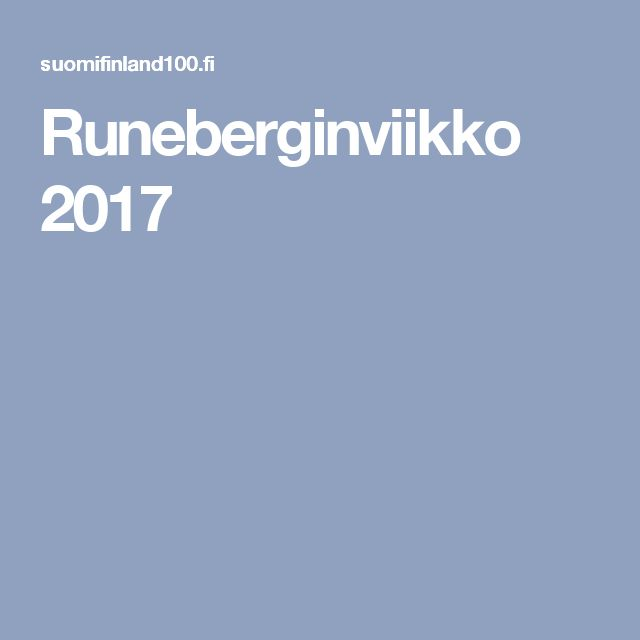 Runeberginviikko 2017