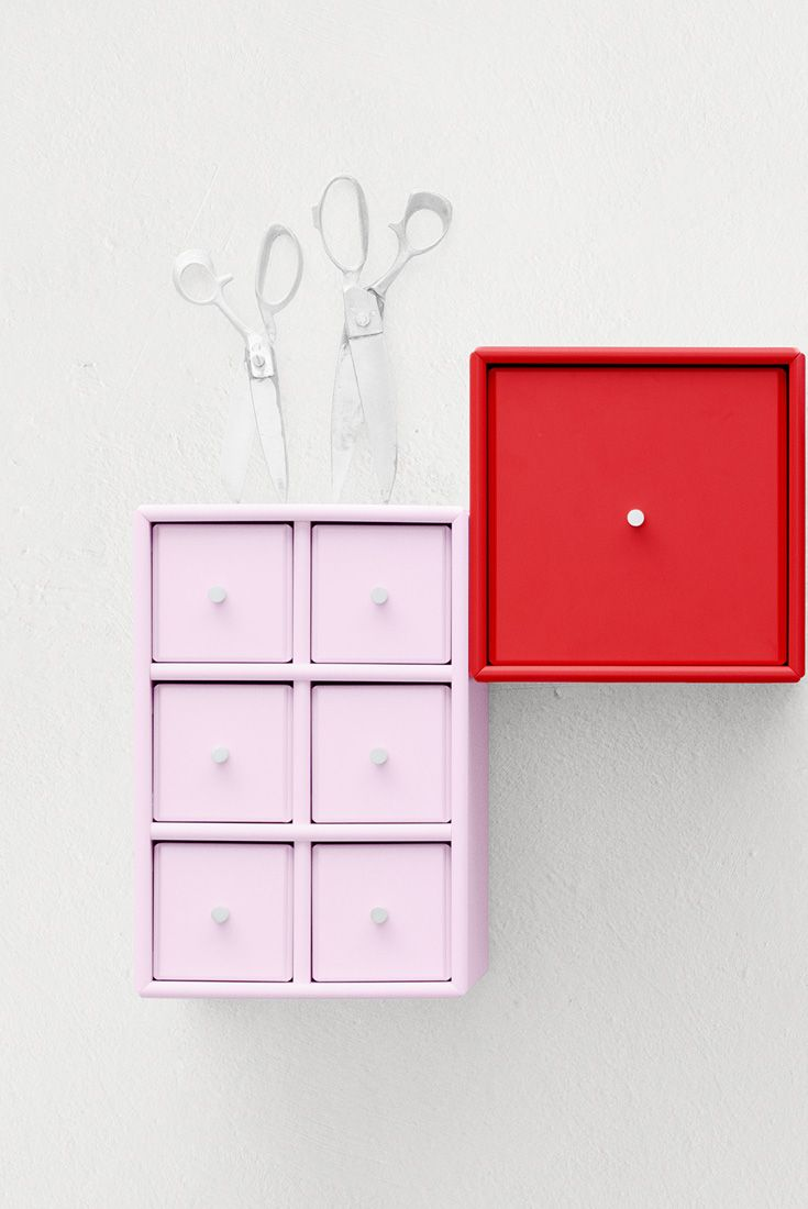 Had a creative summer? Tiny pink and red drawers for all your creative supplies. #montanafurniture #furniture #danish #design #storage #creative #pink #red