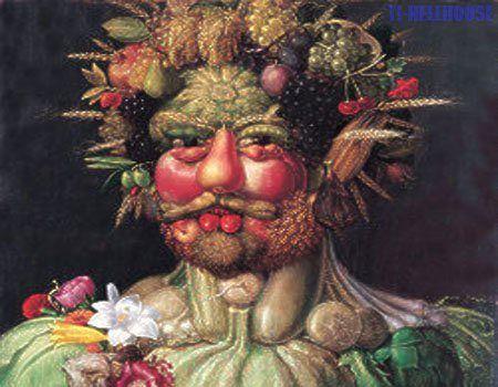 """SURREALISMO Retrato en """"Vertumnus"""" (Verano) del emperador Rodolfo II realizado por Giuseppe Arcimboldo. Todos los frutos y flores representados en el cuadro eran propios de la estación del verano en el siglo XVI. Algunos surrealistas vieron en él a un precursor."""
