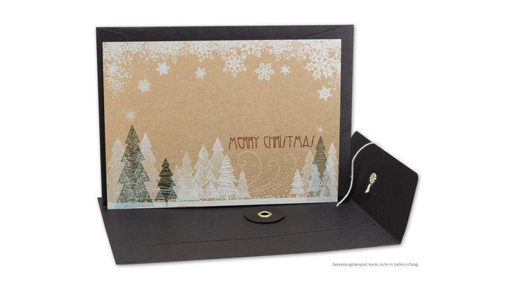 """Briefumschlag C6, Bindfadenverschluss, schwarz, glatt, Kraftpapier mit Weihnachtskarte """"Merry Christmas"""""""