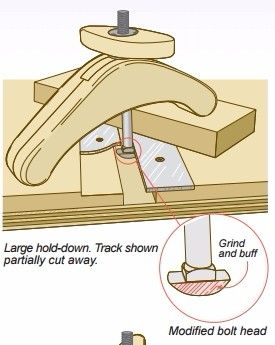 Workbench Hold Downs by Dale Austin -- Homemade workbench hold downs constructed from aluminum track, T-nuts, laminated hardwood, and carriage bolts. http://www.homemadetools.net/homemade-workbench-hold-downs