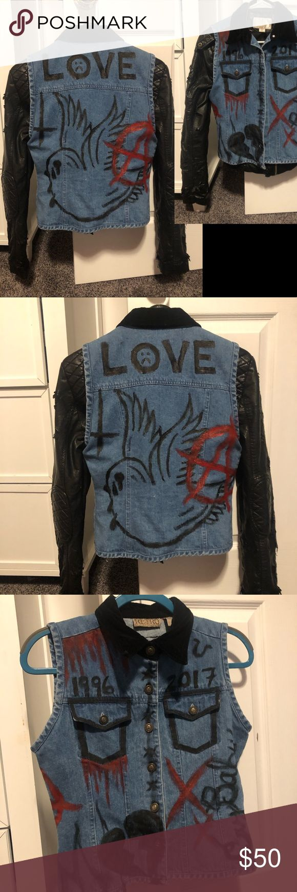 HAND PAINTED LIL PEEP DENIM VEST in 2020 Vintage denim