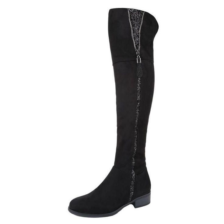 Overknee hoge dames laarzen glitterrand zwart maat 36 t/m 41  €39,99 http://www.mini-jurken.nl/webshop/damesschoenen/overknee-laarzen/detail/1089/overknee-hoge-dames-laarzen-glitterrand-zwart.html