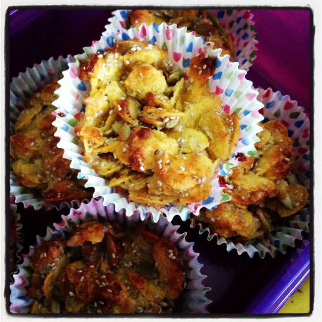 Back to school snack - Mummy Joys (Healthy Honey Joys). Fructose free, gluten free, egg free.