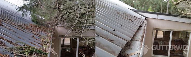 Gutter Cleaning in Melbourne isn't always just about gutter cleaning. Here is an example of how Gutter Wiz has cleared the debris from the roof, trimmed back overhanging branches and thoroughly vacuumed the gutters.